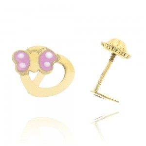 Boucle d'oreille or 375/1000 - 9 carats - Cœur avec papillon