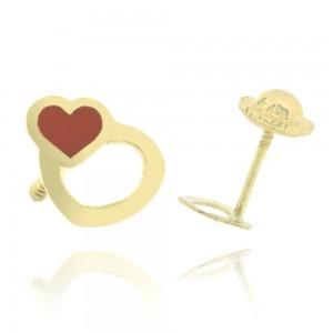 Boucle d'oreille or 375/1000 - 9 carats - Double coeur