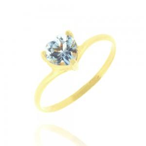 Bague or jaune 375/1000 et Topaze Bleue