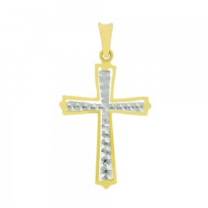 Pendentif or bicolore 375/1000  - 9 carats - Croix