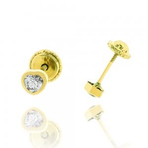 Boucle d'oreille or jaune 375/1000 - 9 carats - Coeur avec oxyde blanc au centre
