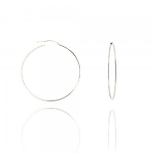Boucle d'oreille or blanc 375/1000 - 9 carats - Créole