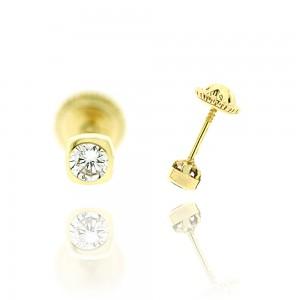 Boucle d'oreille or jaune 375/1000 - 9 carats - Serti clos forme tonneau