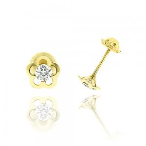 Boucle d'oreille or jaune 375/1000 - 9 carats - Fleur