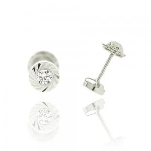Boucle d'oreille or blanc 375/1000 - 9 carats - Ronde et Striée avec oxyde de zirconium blanc