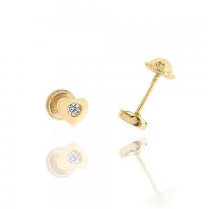 Boucle d'oreille or rose 375/1000 - 9 carats - Coeur