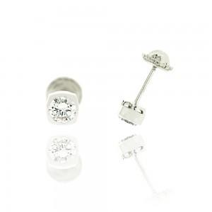 Boucle d'oreille or blanc 375/1000 - 9 carats - Forme tonneau avec oxyde blanc