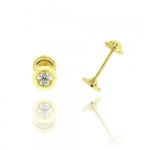 Boucle d'oreille or jaune 375/1000 - 9 carats - Serti ciselé