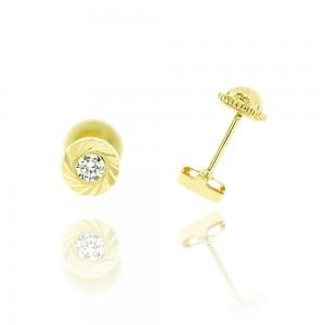 Boucle d'oreille or jaune 375/1000 - 9 carats - Ronde Stiée
