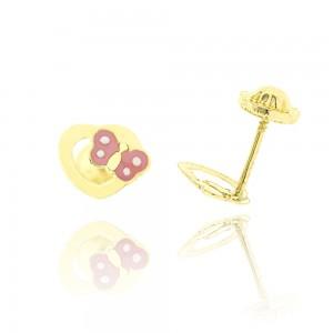 Boucles d'oreilles or 375/1000 - coeur avec papillon laqué rose