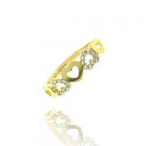- Bague coeur, or jaune 375/1000  et oxyde de  zirconium -