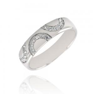 Alliance or blanc 375/1000 et diamant - 5mm