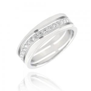 Alliance or blanc 375/1000 et diamant - 6mm