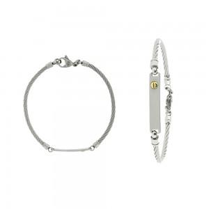 Bracelet or 750/1000,  acier, câble, bébé