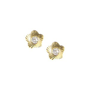 Boucle d'oreille or, fleur ciselé et oxyde de zirconium