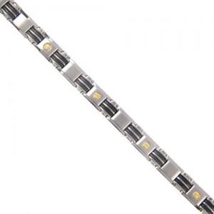 Bracelet acier or, caoutchouc