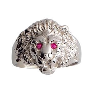 Chevalière argent, bague lion, rubis