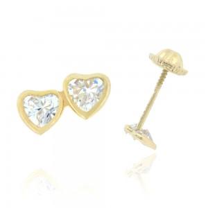 Boucle d'oreille or jaune 375/1000 - 9 carats - Double coeur avec oxyde blanc