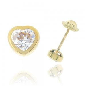 Boucle d'oreille or jaune 750/1000 - 18 carats - Coeur