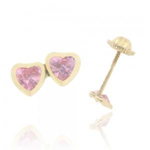 Boucle d'oreille or jaune 750/1000 - 18 carats - Double cœur avec oxyde rose