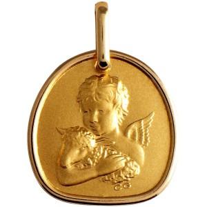 Médaille or, ange et agneau