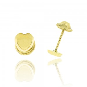 Boucle d'oreille or jaune 375/1000 - 9 carats - Coeur