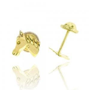 Boucles d'oreilles or 375/1000 - Tête de cheval