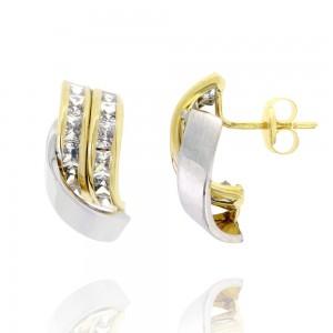 Boucle d'oreille or bicolore 375/1000 - 9 carats et oxydes - 1/2 Créoles