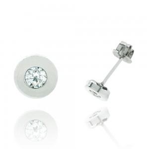 Boucle d'oreille or blanc 375/1000 - 9 carats - Serti clos