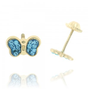 Boucle d'oreille or jaune 750/1000 - 18 carats - Papillon