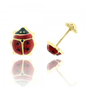 Boucle d'oreille or jaune 375/1000 - 9 carats - Coccinelle
