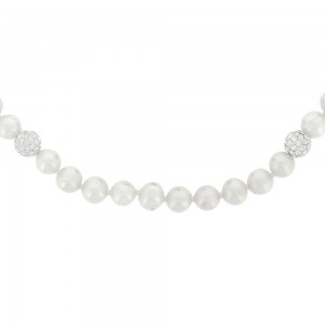 Collier or 375/1000 - 9 carats, perle de culture et cristaux