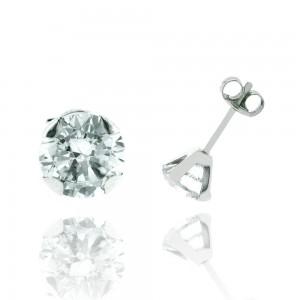 Boucle d'oreille or blanc 375/1000 - 9 carats