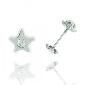 Boucle d'oreille or blanc 375/1000 - 9 carats  - Etoile