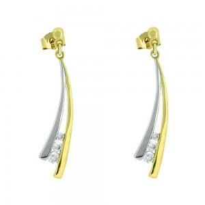 Boucle d'oreille or bicolore 375/1000 - 9 carats et oxydes