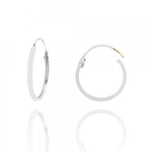 Boucle d'oreille or blanc 375/1000 - 9 carats - Créoles