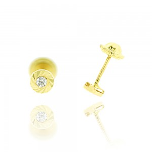 Boucle d'oreille or jaune 375/1000 - 9 carats - Serti clos