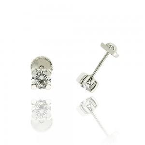 Boucle d'oreille or blanc 375/1000 - 9 carats - Serti carré PM