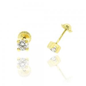 Boucle d'oreille or jaune 375/1000 - 9 carats - Serti griffe carré PM