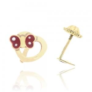 Boucle d'oreille or 750/1000 - 18 carats - Coeur avec papillon