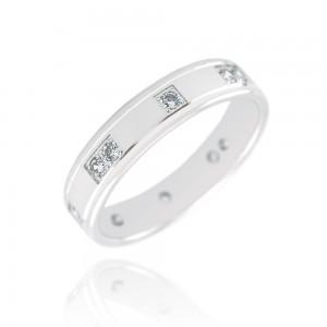 Alliance or blanc 375/1000 et diamant - 4.5mm