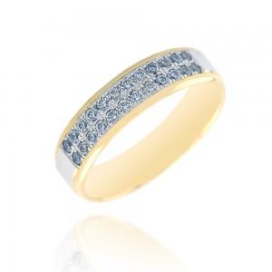 Alliance or bicolore 375/1000 et diamant - 5mm