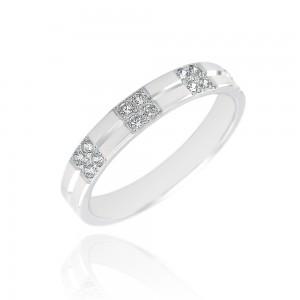 Alliance or blanc 375/1000 et diamant   (9ct) - 3.5mm
