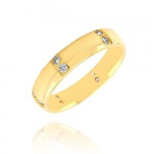 Alliance or jaune 375/1000 et diamant - 5.5mm