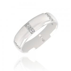 Alliance or blanc 375/1000 et diamant - 5.5mm