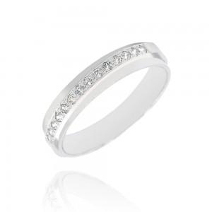Alliance or blanc 375/1000 et diamant  (9ct) - 4mm
