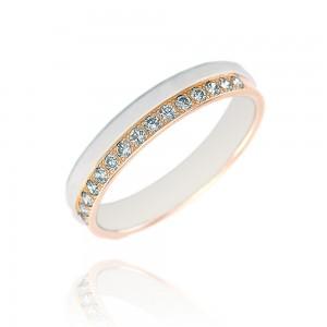 Alliance or bicolore 375/1000 et diamant  (9ct) - 4mm
