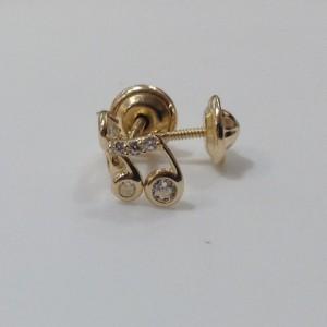 Boucle d'oreille or jaune 375/1000 - 9 carats - Note de musique