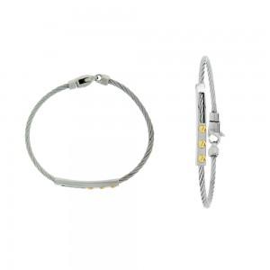 Bracelet  acier or 750/100 - Gourmette câble pour enfant
