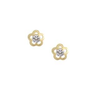 Boucle d'oreille en or, fleur, oxyde de zirconium